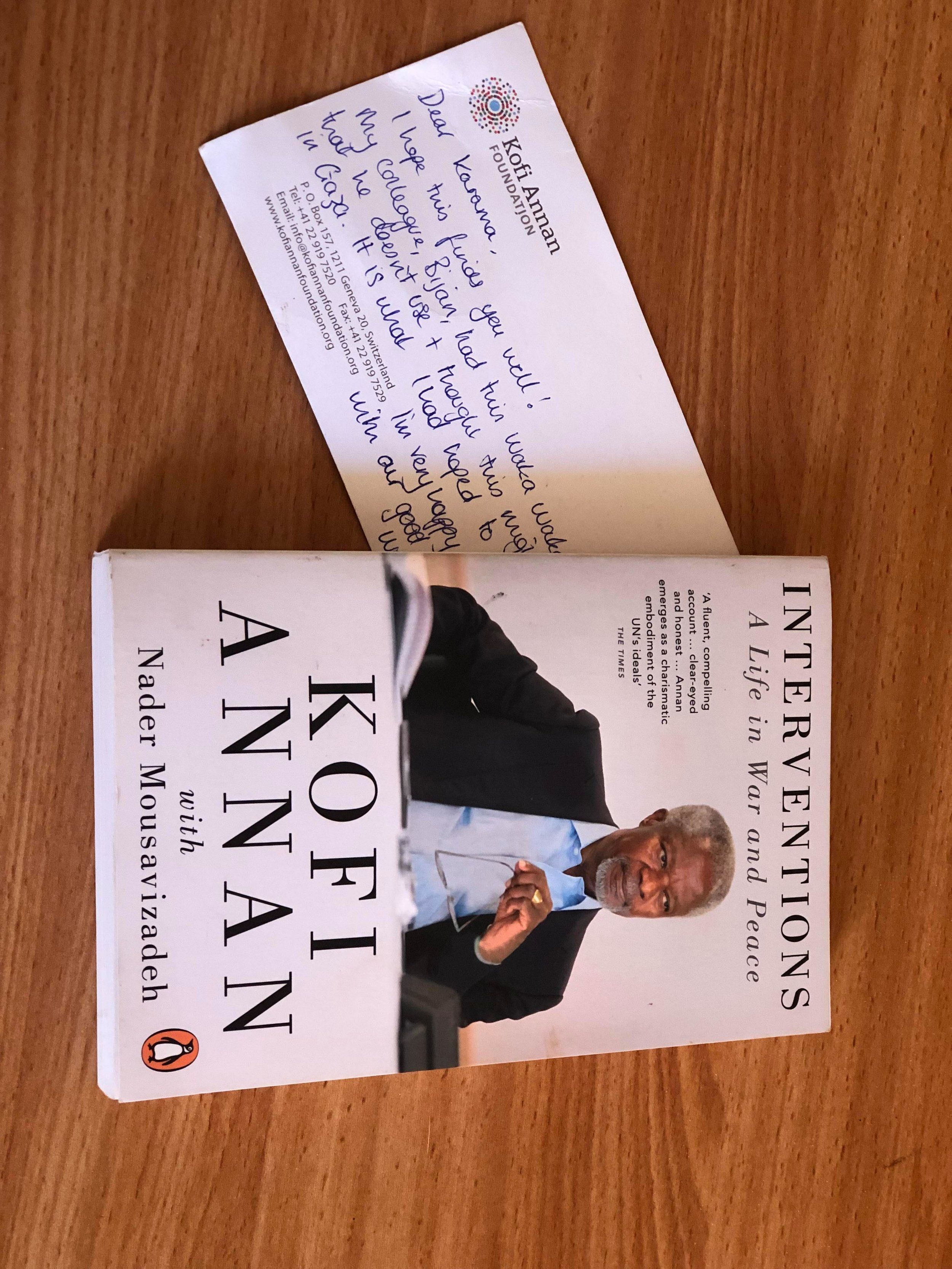 """""""This card was a gift from Natalie. She was the executive secretary for Mr. Kofi Annan. She sent me this card and the book is a gift from my Irish student."""""""