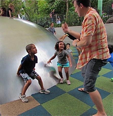 Jason playing at the park with Kaleb & Marley