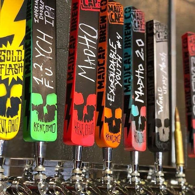 Go crazy with some of these handles in the Mad Cap Brew Co. tasting room at 1422 Mogadore Rd in Kent. But you can also try their beer at Ale Fest!  Tix: akronalefest.com/tickets  @madcap_brew_co @craftymart  #akronalefest #akronalefest2018 #craftbeer #shoplocal