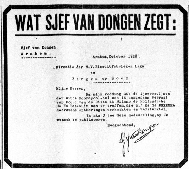 reclame beschuit Nederlandse poolheld Sjef van Dongen Spitsbergen 1928 boek biografie