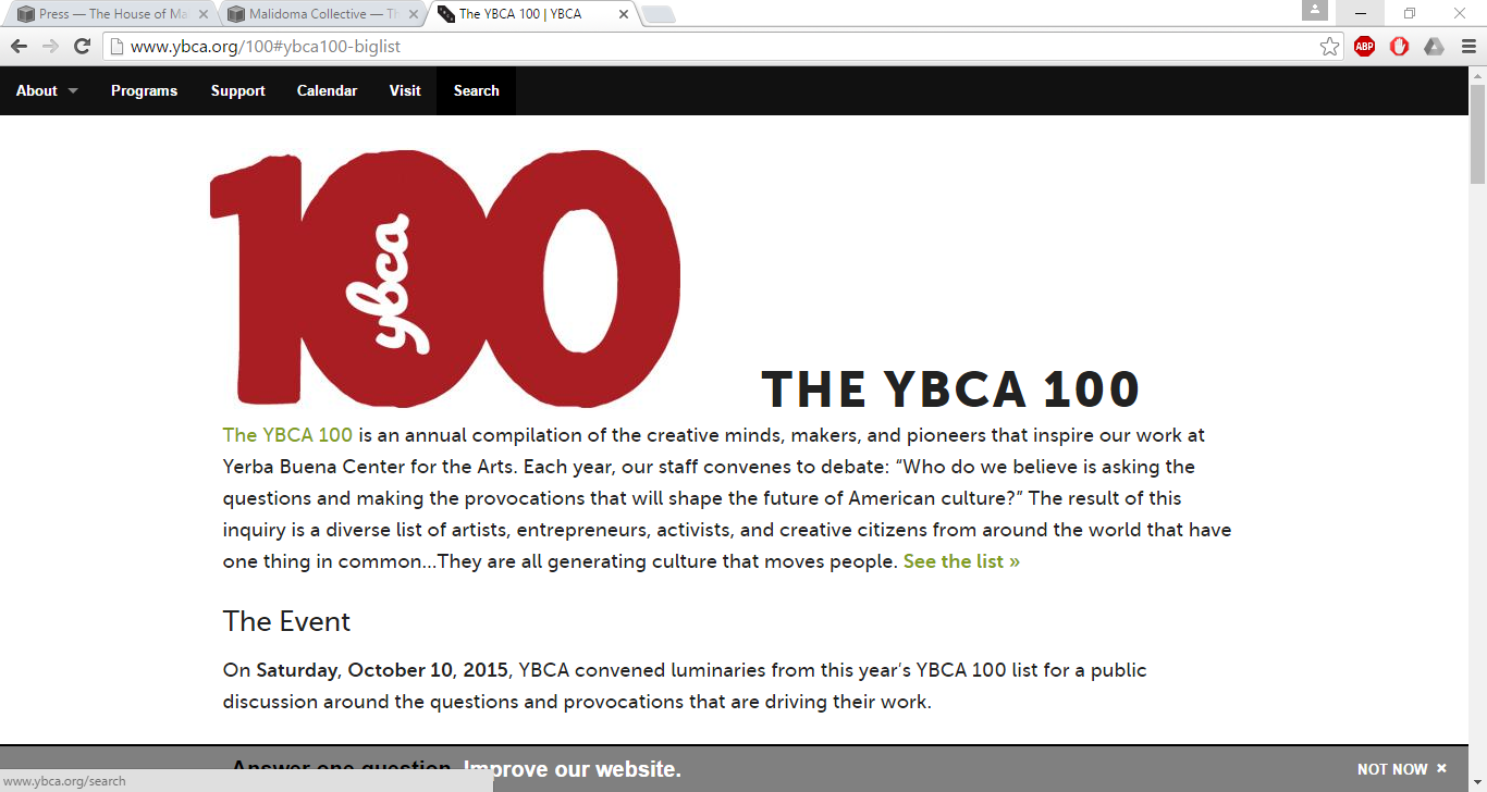 """ Shaping the Future of America / YBCA 100 List"" :   YBCA"