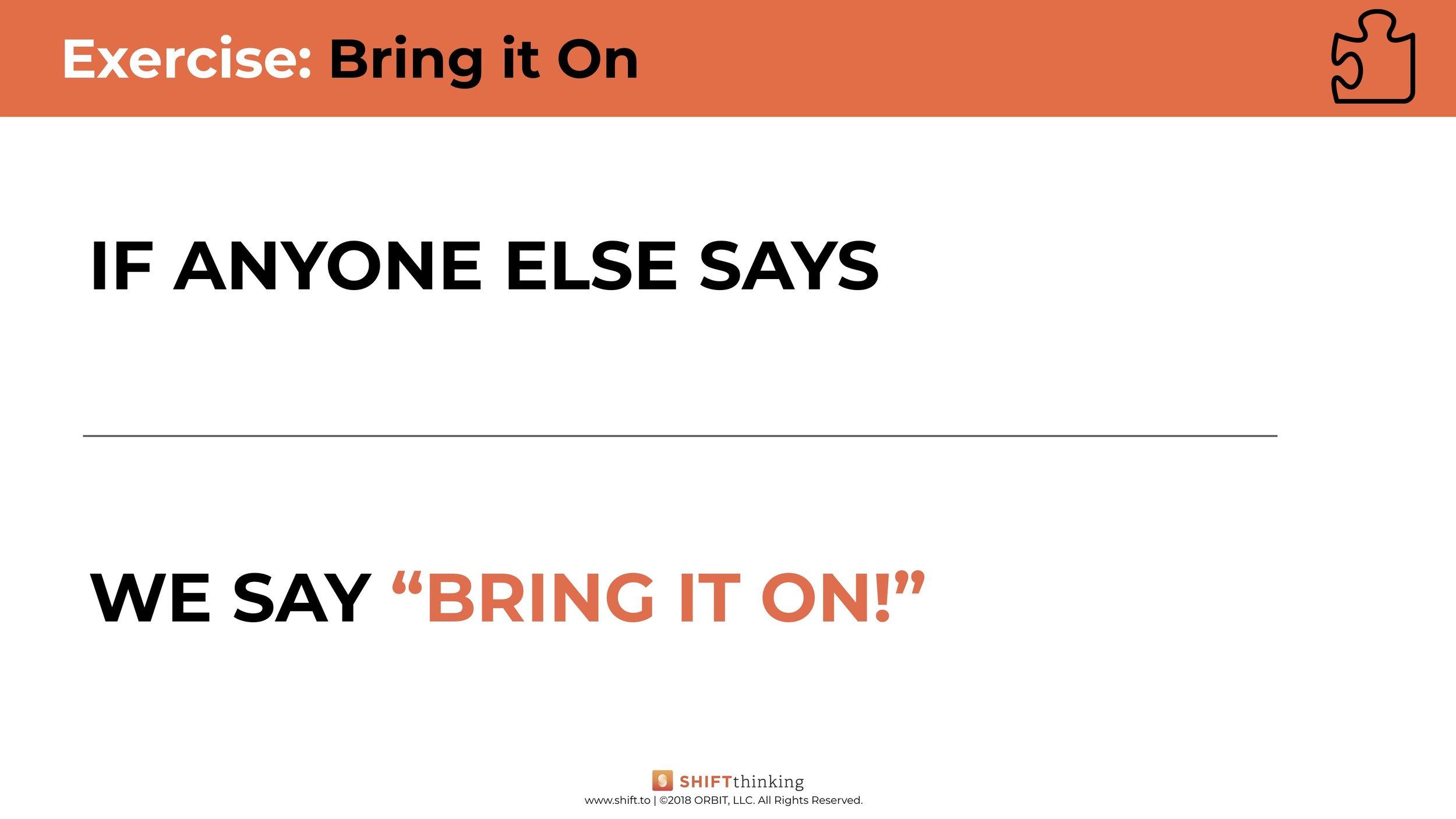 Bring it On worksheet
