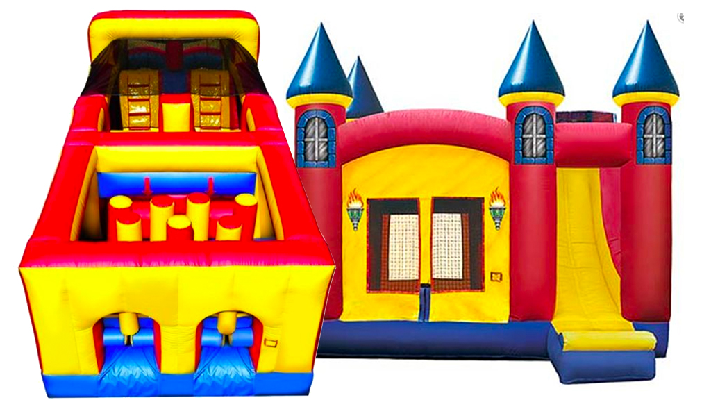 2 bounce houses! - One traditional and one obstacle course bounce house are included!