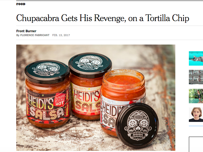 "NEW YORK TIMES  - Feb 13, 2017  ""Chupacabra Gets His Revenge, On a Tortilla Chip"""