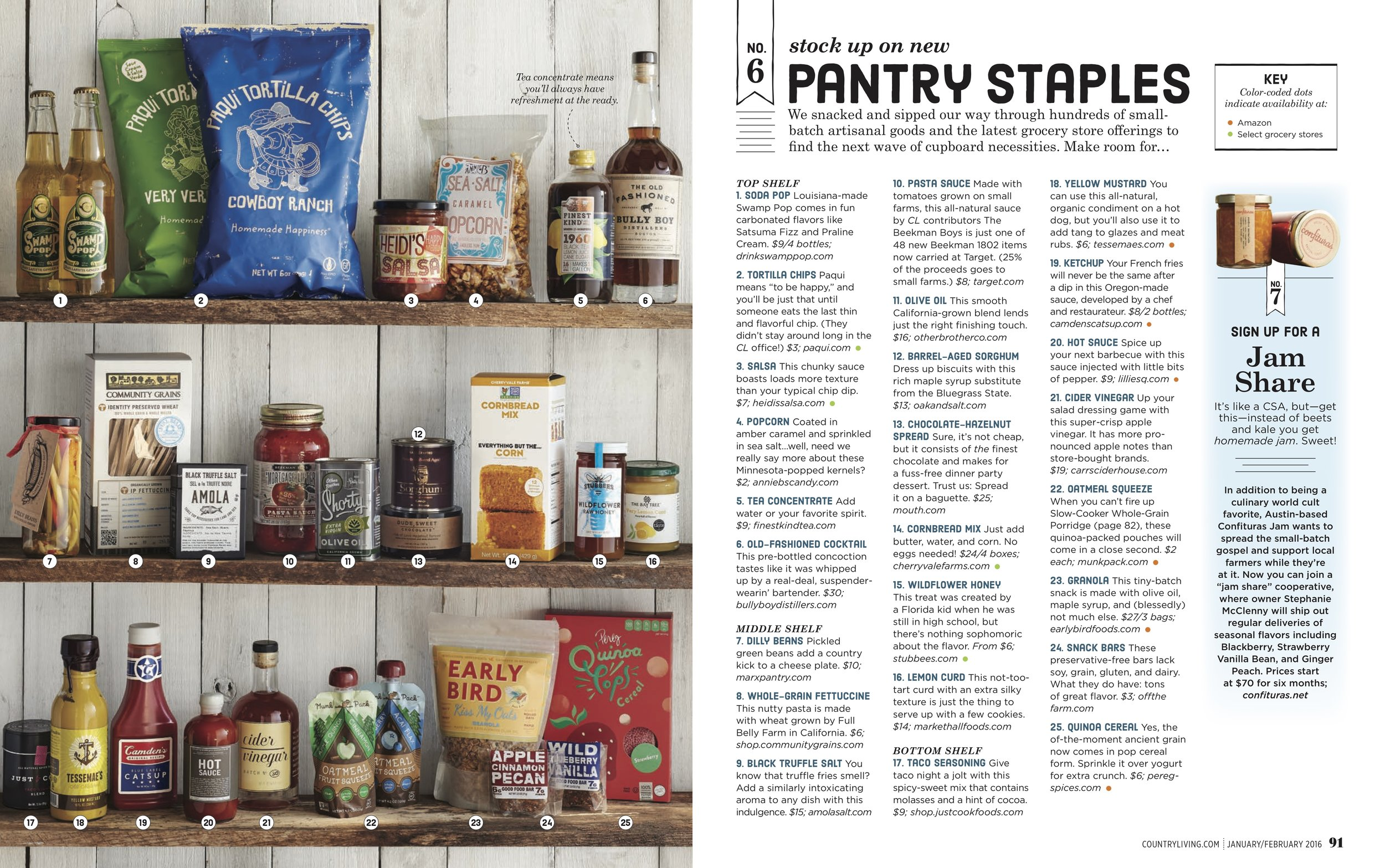 "COUNTRY LIVING  - Feb 2016 ""Pantry Staples (from  The Guide To Eating in 2016 )"""