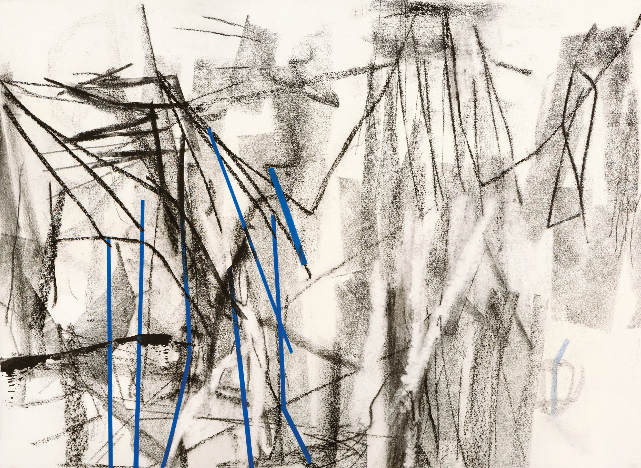 Untitled (rd.13.8), 2013 block prining ink, charcoal, blue tape, colored pencil on paper 22 1/2 x 31 inches