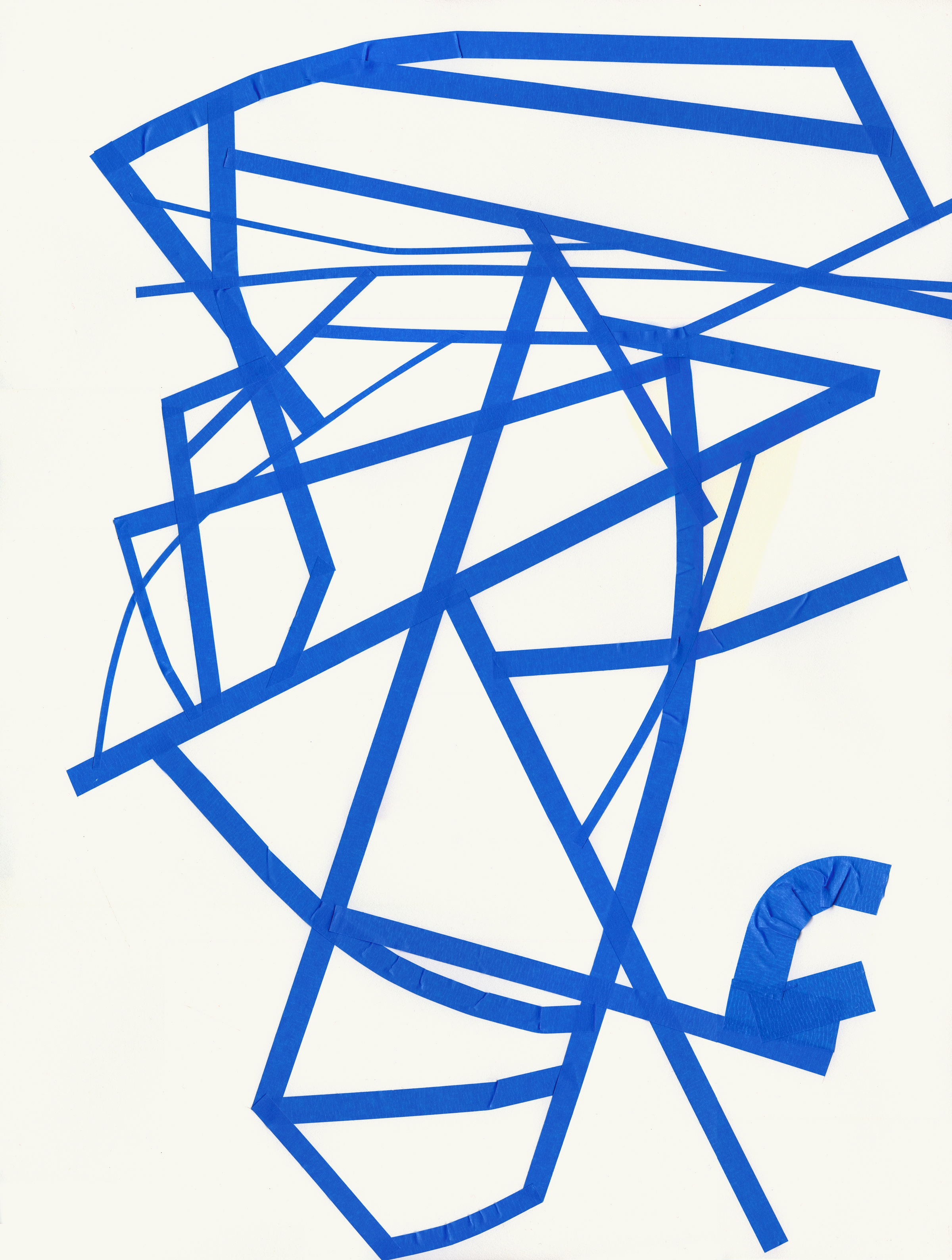Untitled (t.08.3p), 2008 blue tape on paper 23 53/8 x 18 inches