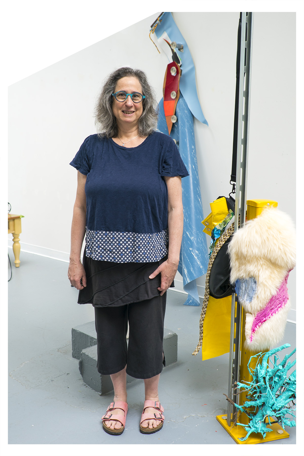 Jessica Stockholder in her studio at University of Chicago.