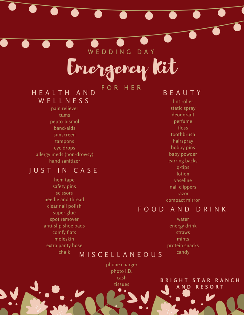 Wedding Day Emergency Kits: His and Hers — Bright Star Ranch