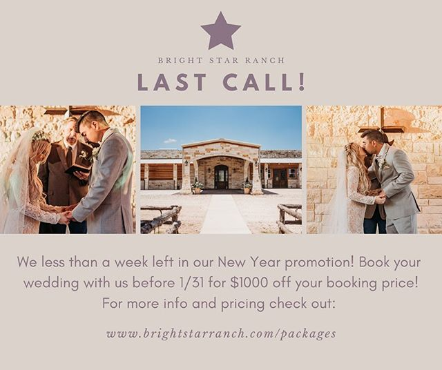 The last day of our big discount is TOMORROW!!! Y'all don't want to miss out on this offer! Reach out to us at info@brightstarranch.com or visit our website for more information! The links are in our bio! #texasweddings #texasengagement #engaged #brightstarranch #brightstartx