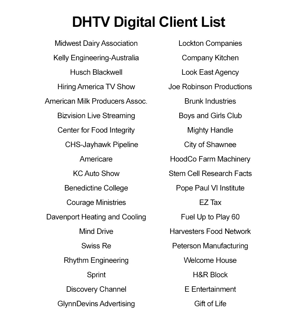 Video Production Kansas City Client List Trusted
