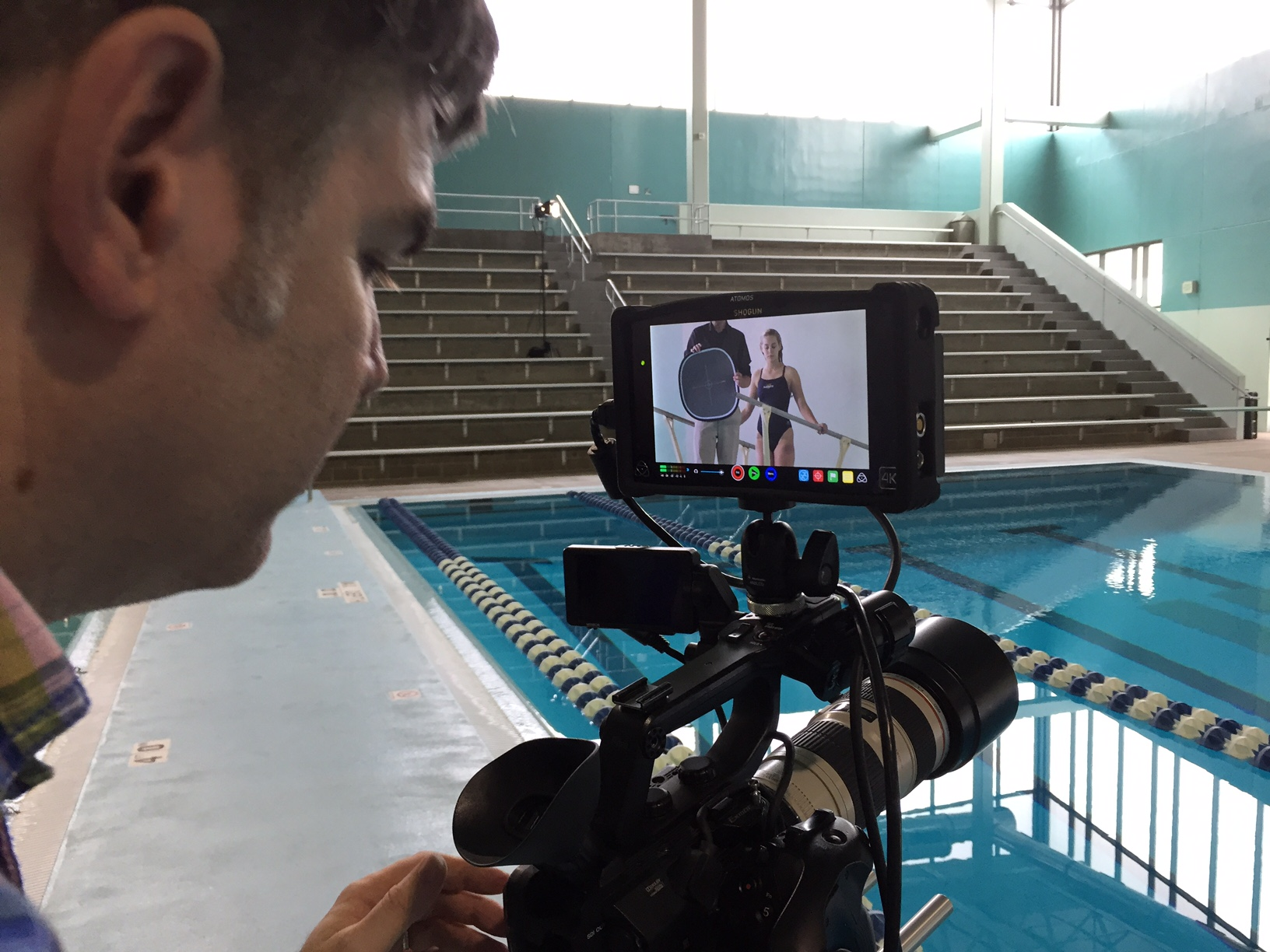 Senior DP Todd Norris adjusting the white balance while our diver/actress awaits her next action