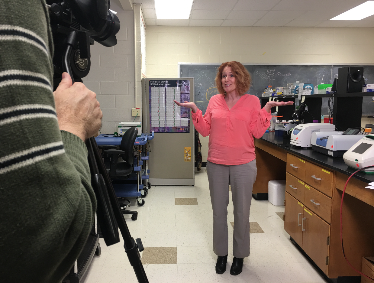 """Lynne Feifer, host of """"365 Days of Baking and More"""" filming her open."""