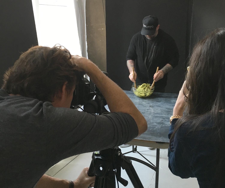 Chef Chris Santos in the studio
