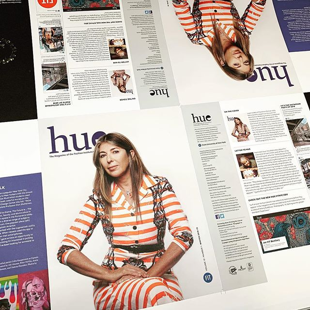 On press for the cover of the new issue of Hue magazine for FIT featuring Nina Garcia-Editor of Elle, photographed by @joe_carrotta, #fitnyc #fashioninstituteoftechnology #magazine #alumnimagazine #maarprinting