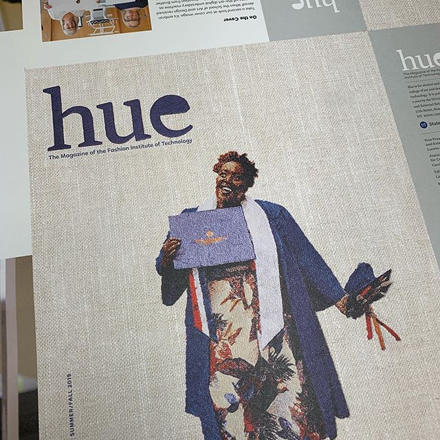 FIT's Hue Magazine Summer/Fall features an embroidered cover. 29 colors, 155,183 stitches, created on a machine donated to the school by Brother. #fitnyc #huemagazine #maarprinting #embroideryart #embroidery #uncoated #uncoatedpaper
