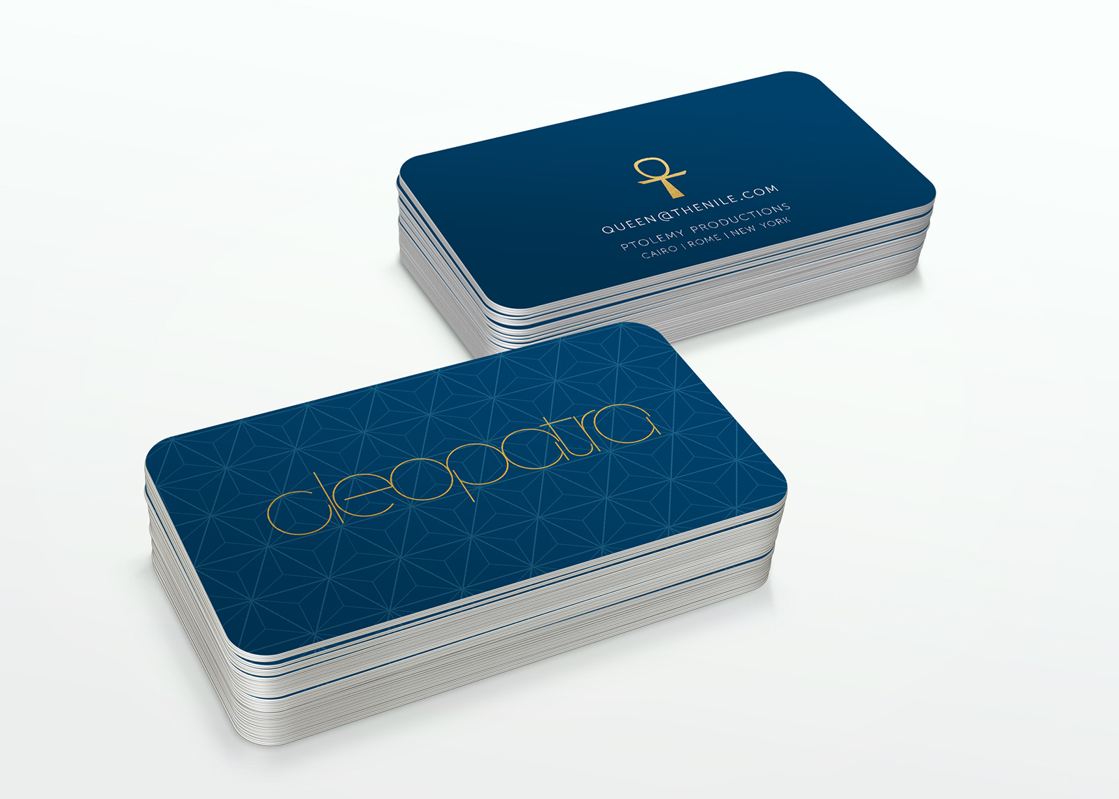 cleopatra brand identity business cards