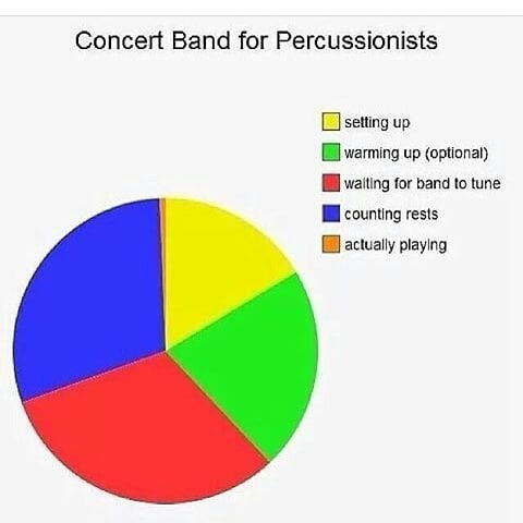 - What can you do to change this graph to include more playing time for your percussionists?