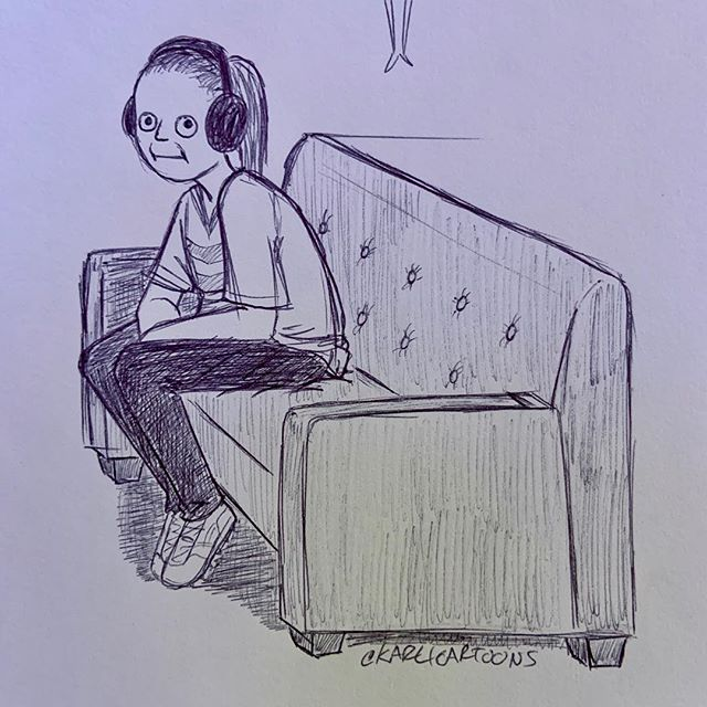 I just finished a recording for @kayblane 's podcast and while we were doing it, I drew her sitting down cuz she looked so damn uncomfortable #karlicartoons #kkblane #notfamousbut #podcast #doodle #inks #figuredrawing #hilarious #existentialdread #traditionalart #cartoon #funny