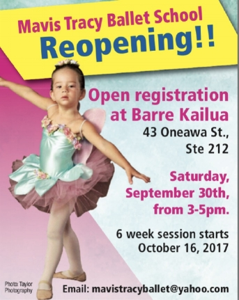 Join us Sat. Sept 30th, from 3-5  at Barre Kailua Studio. To meet and sign up for our 6 week preview  Ballet classes as well as meet our Ballet Instructor, Katie Mcglinn.