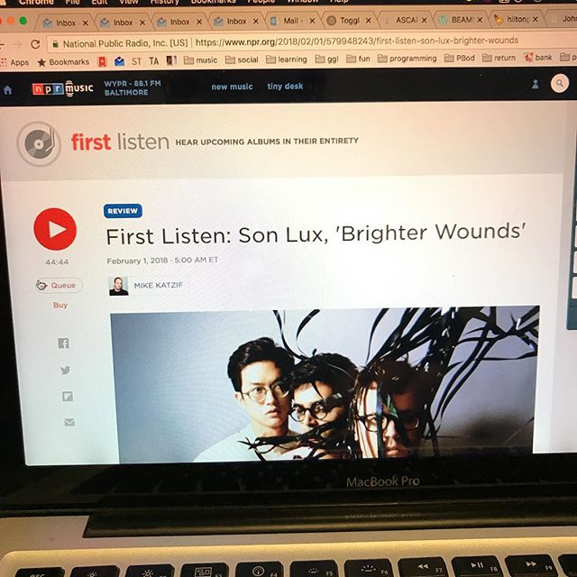 Listening to @son_lux's new album on @nprmusic First Listen. It's really really good