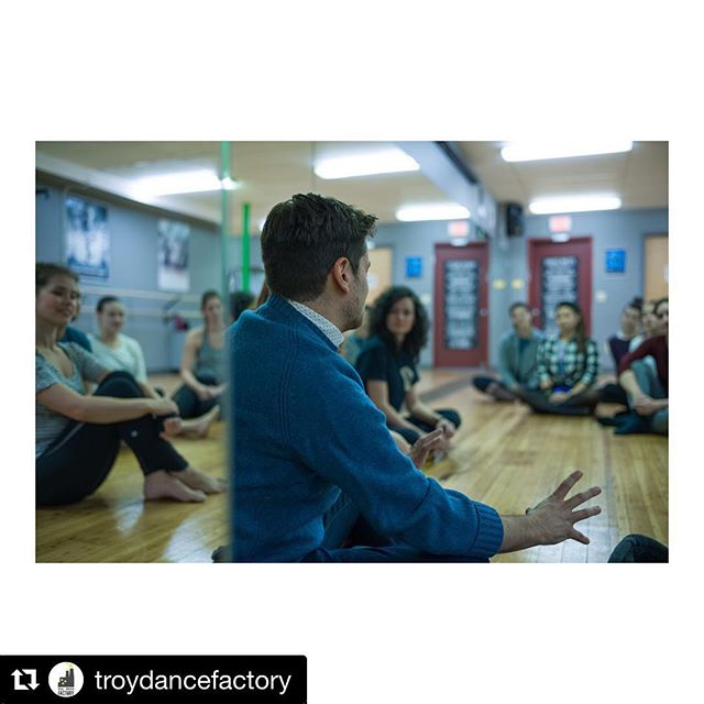 """We are so excited to collaborate with @troydancefactory and @tinydancertroy!!! #Repost @troydancefactory with @get_repost ・・・ We started a pretty cool thing this Fall! It's called the Local Musician Choreography Class. This collaborative experience bridges the gap between local musicians and dancers, and builds relationships through stories and artistry. We invite 3-4 musicians to participate per session. They share the story behind their music, for which a custom piece is choreographed and taught, and we end the session with a professional video shoot with @_chromoscope_ 🎬 Here, Chuck and Mira Costa from @_theseathesea are in the studio talking to the class about their song """"All Go Right"""", after which the group listens to the piece, then the choreographic concept is explained and the piece is taught. @collaborative_mag was with us that night, sharing in our experience and capturing these beautiful photos (photos by Richard Lovrich 📷). You can read their story about it by visiting the link in our profile, checking out our previous post and by visiting The Collaborative Magazine website. You can also join us for this class by registering on our website. Winter session will be with artists @girlbluemusic @tiltedarc and @northernfaces 🎙 . . . #enjoytroy #troyny #collaboration #localmusic #supportlocal #dance #dancers #dancing #artistry #storytelling"""