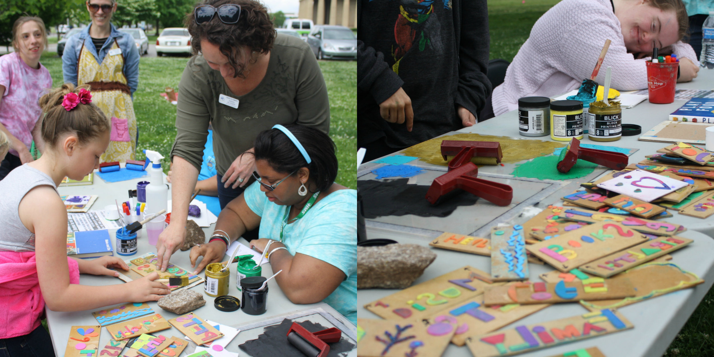 Program Specialist Sarah Blosser creating with some of the Friends on a creative adventure.