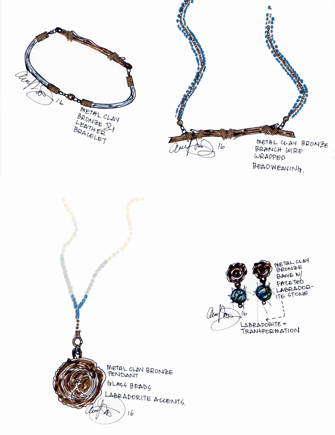 Sketches for the Friends Life curated jewelry collection.