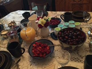 Selection of seasonal fruit at breakfast.