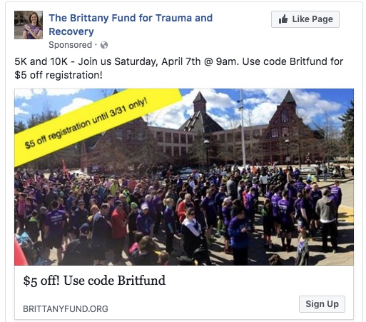 Nonprofit Facebook Ads - Direct response advertisements on Facebook offering a promotion code to drive signups for a local nonprofit's 5K and 10K