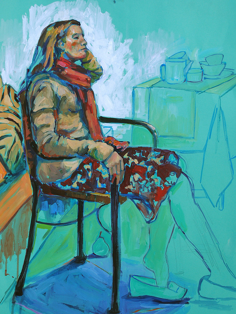 Figure Study  on Flickr.   Sometime in Jan 2012 at the Firehouse North Gallery in Berkeley. 3-hour study, Acrylic on Canson paper, 19 x 25 inches.