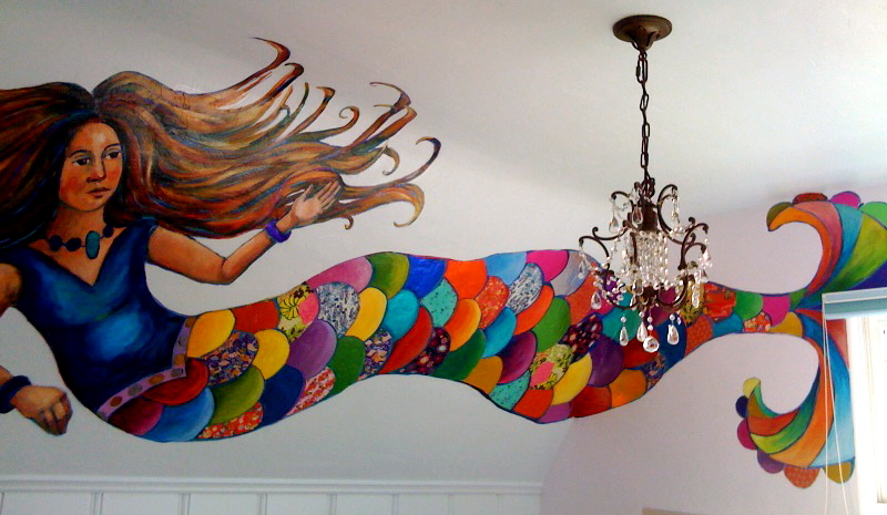 Finished the mermaid mural in Francesca's room this week.