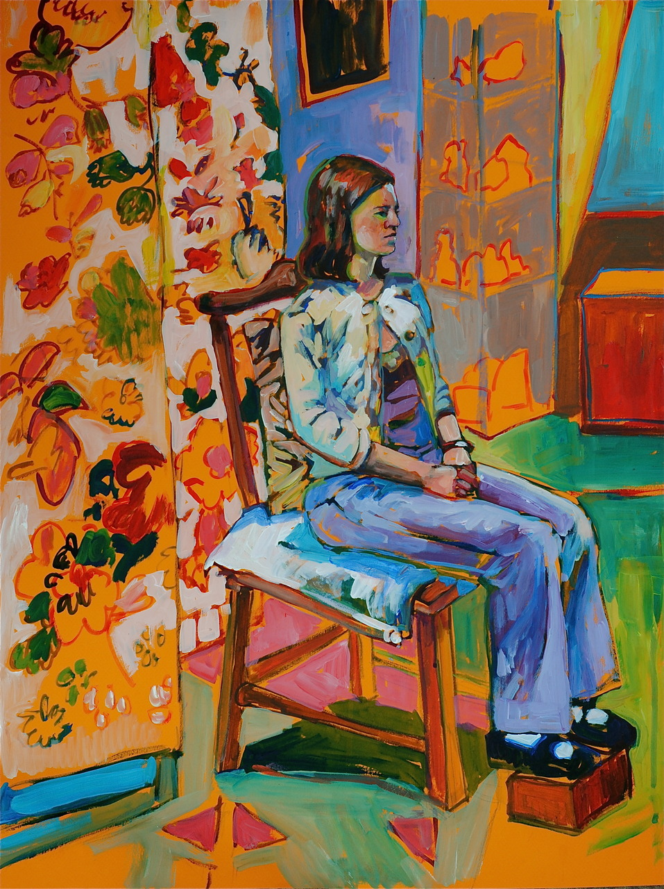 3-hour figure study. Acrylic on Canson paper, 19x25 inches. Holy Pattern! I liked the fabric that Vicki brought, but where is the figure? Oh yeah, I see her. I thought I'd challenge myself with a profile and it was tough going for me. This model Lucy was amazing, though, I don't think I saw her so much as twitch the entire time.