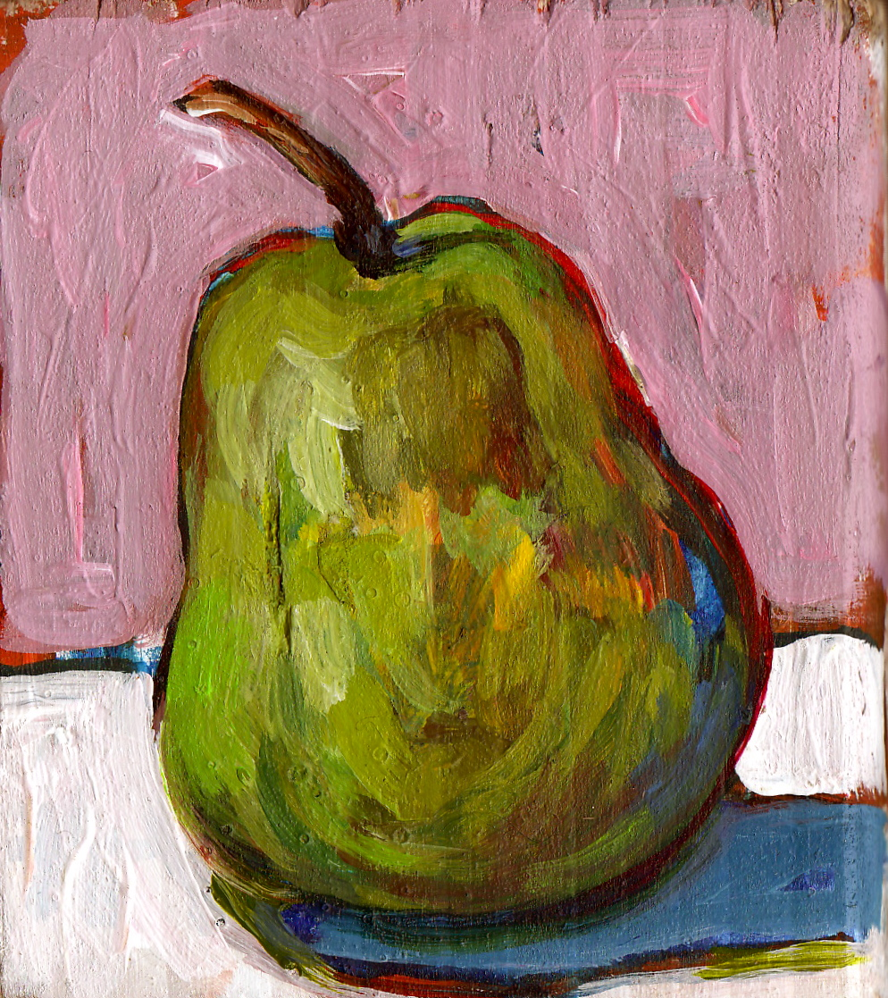 Daily Painting. Small pear on recycled wood. Available in my  Etsy shop .