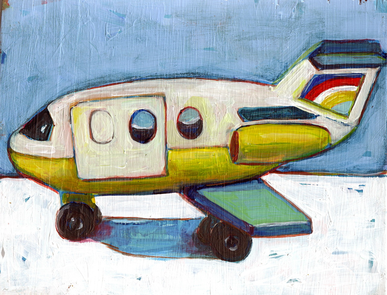 Remember these? Daily Painting: Fisher Price toy airplane still life. Available in my  Etsy shop .