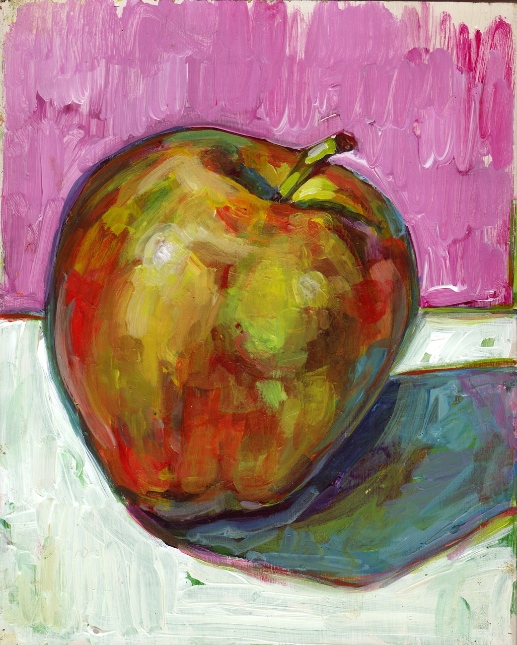 apple study. acrylic on recycled wood. approx. 8x10 inches.    it's a good idea, as was mentioned to me yesterday, when you find yourself in a creative block-ish mode, to move quickly through works to keep things fresh—to stop obsessing over small, stale areas of painting. thinking in that mode today I just decided to paint this apple.
