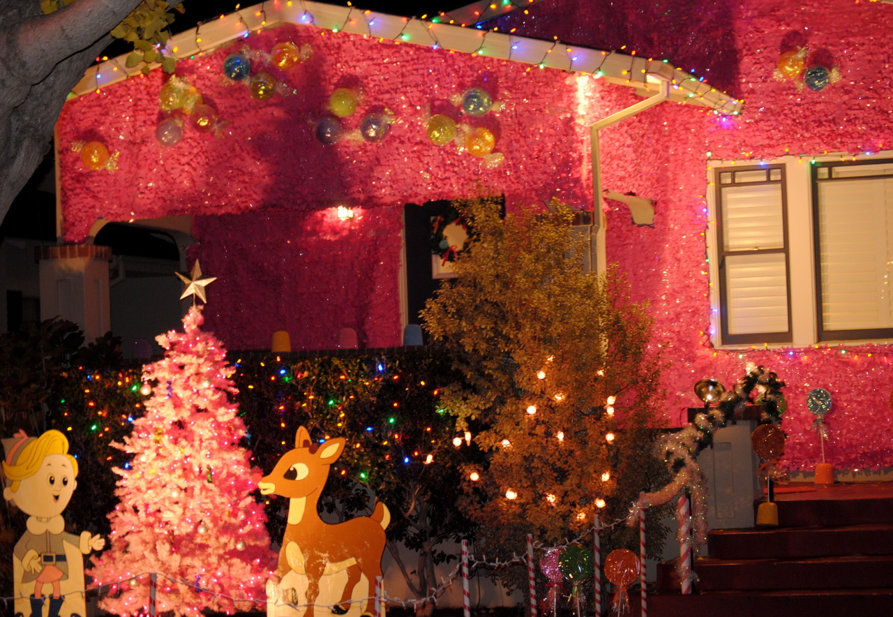 if you're willing to cover your house in pink tinsel, congratulations, you win!   (Christmas Tree Lane in Alameda)
