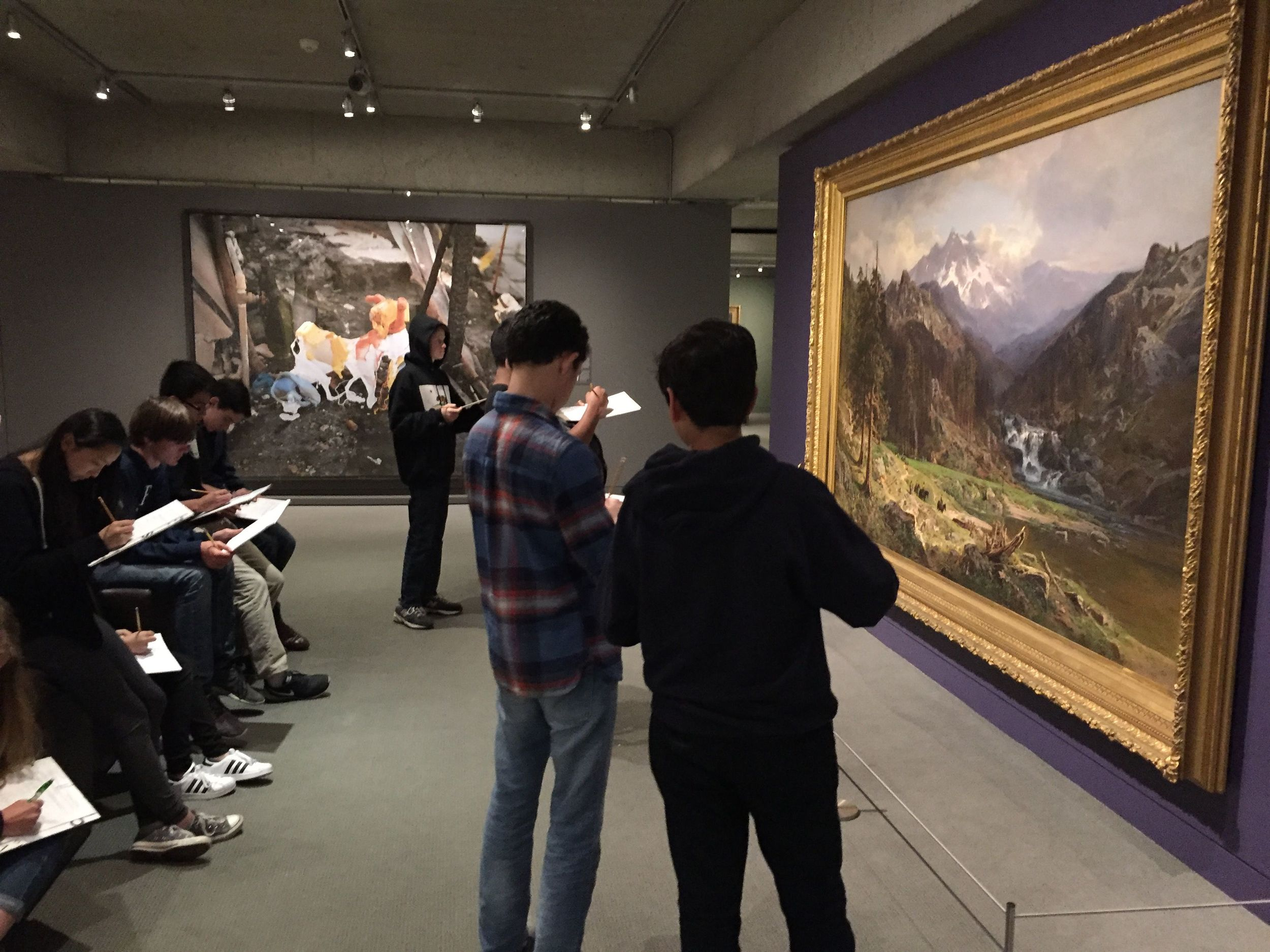 Today we took a field trip with 36 ninth grade students tot the wonderful   Oakland Museum of California .  Students completed writing prompts based on the museum's Gallery of California Art. Check out the writing prompts that I created   here.