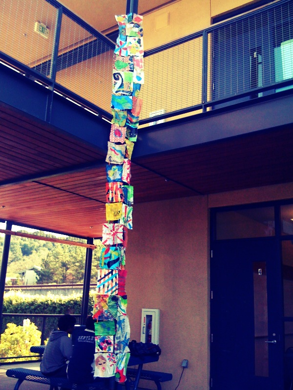 Hanging sculpture made from recycled plastic bags