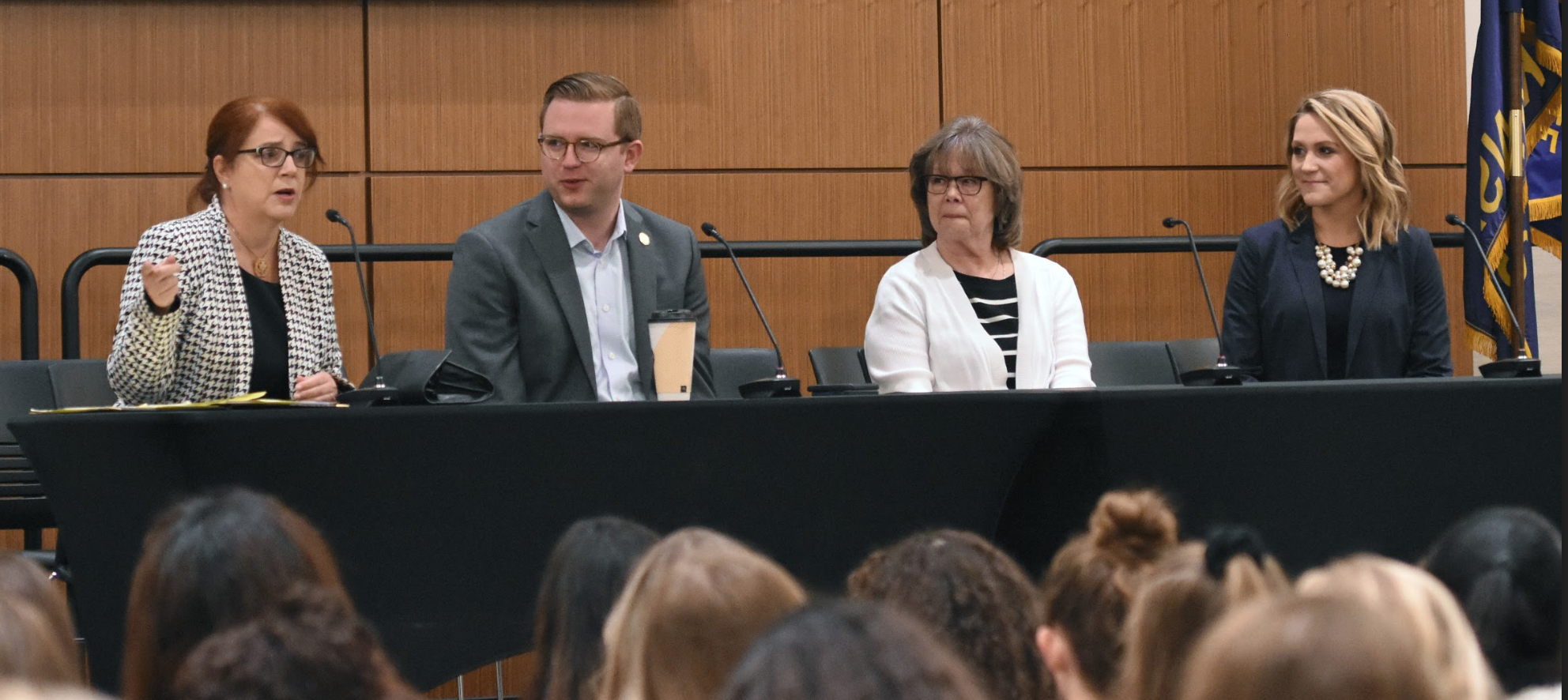 Legislative Career Panel. From left to right: Susan Estes, Precinct Committeewoman and State Chairwoman. Representative Brandon Woodard, Kansas House District #30. Barbara Conant, Lobbiest at Kansas Advocates for Better Care. Catherine Gunsalus Assistant Kansas Secretary of State.