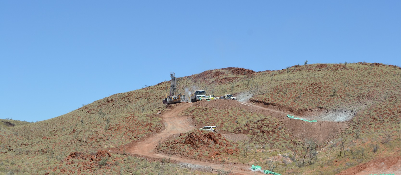 Figure 1: Drilling underway as part of the maiden programme at the Lynas Find lithium project.