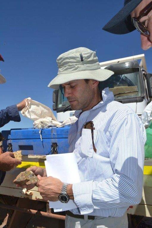 Figure 2: Dakota Minerals CEO David Frances on site last week inspecting newly discovered pegmatite samples.