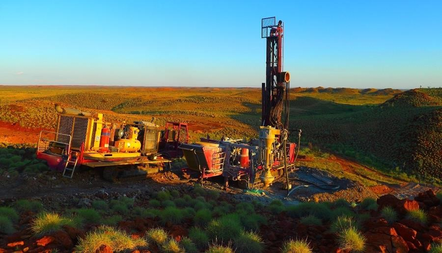 Figure 1: Drilling at the Lynas Find Lithium Project, looking NW