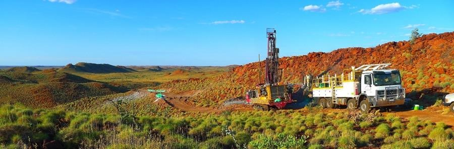 Figure 2: Drilling at the Lynas Find Lithium Project, looking NNE