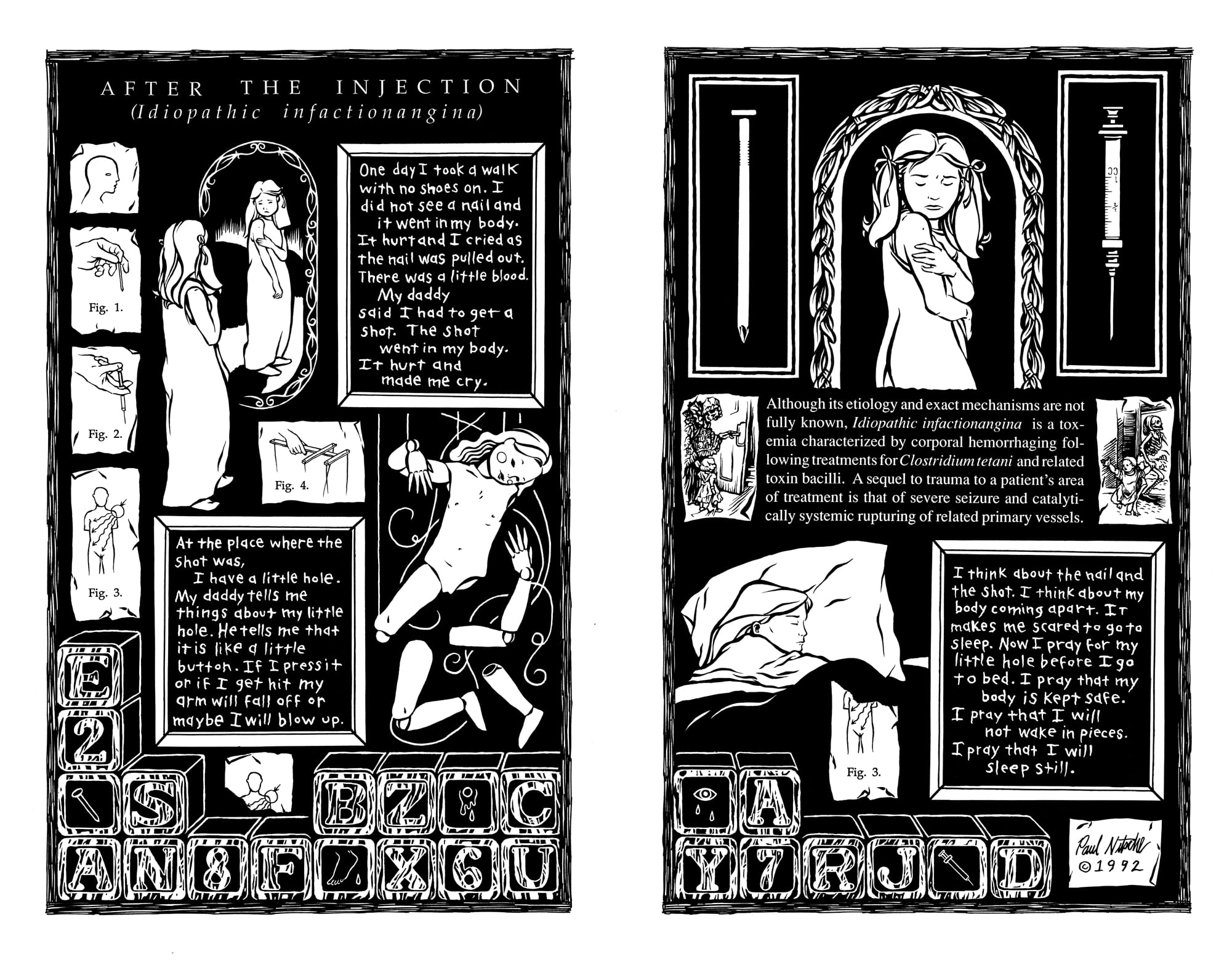 After the Injection . 2 pages. 1992. Pen and ink, Scratch board. Published in  Urban Legends , Number 1. Published by Dark Horse Comics.