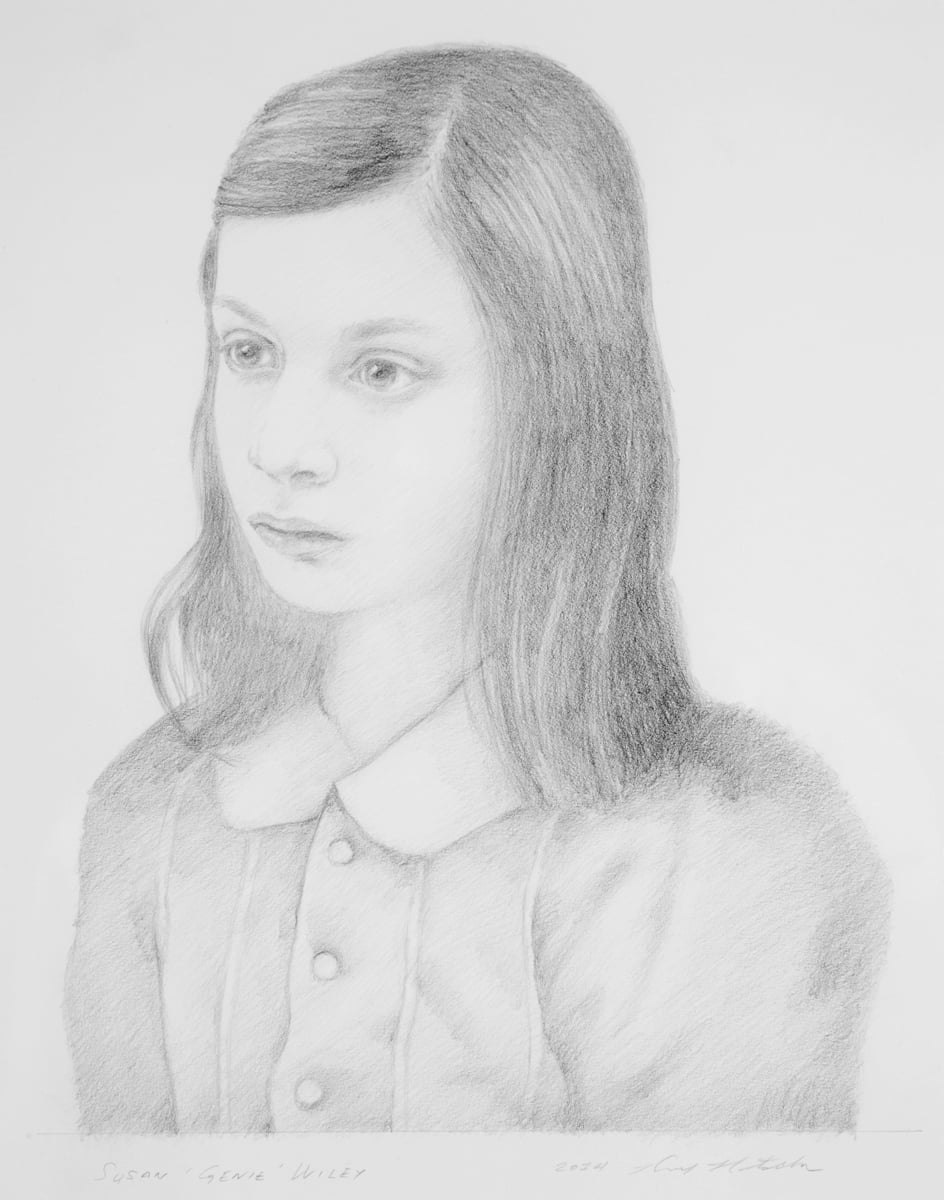 "The Wild Child, Portrait of Susan ""Genie"" Wiley . 2014. 8""w x 10.5""h. Graphite."