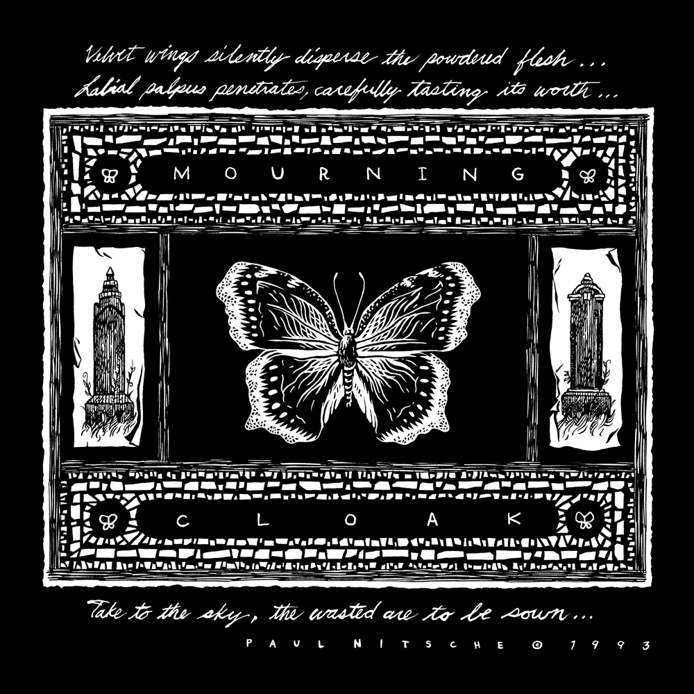 "Mourning Cloak.  1 page. 1993. Pen and ink, Scratchboard. Published in Dazzling Killmen's  Medicine Me  7"" single. Released by Skin Graft Records."