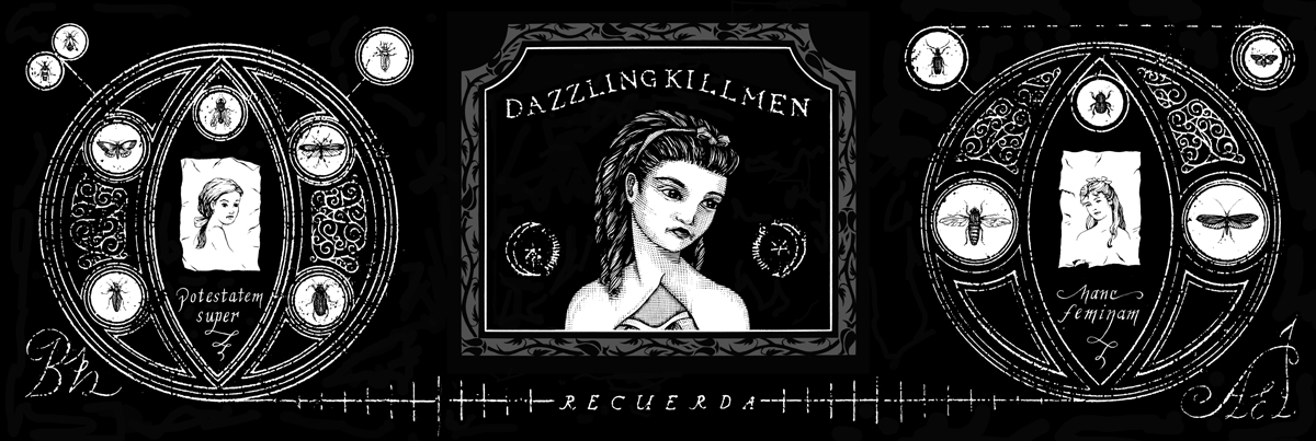 Dazzling Killmen,  Recurada.  CD Booklet, Front.  1996. Pen and ink, Scratch board. Released by Skin Graft Records.