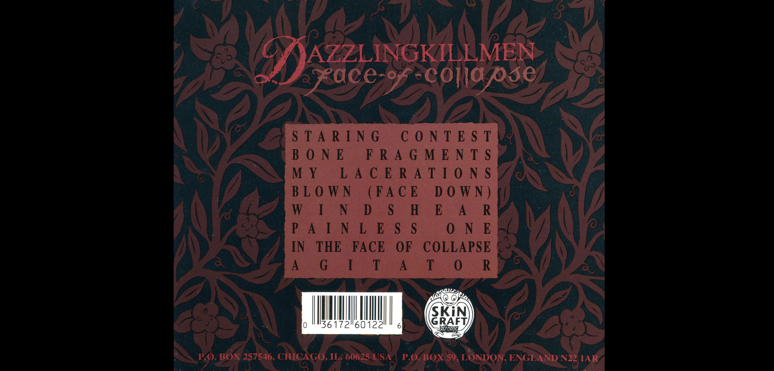 Dazzling Killmen,  Face of Collapse . CD Tray, Back.  1994. Pen and ink. Released by Skin Graft Records.
