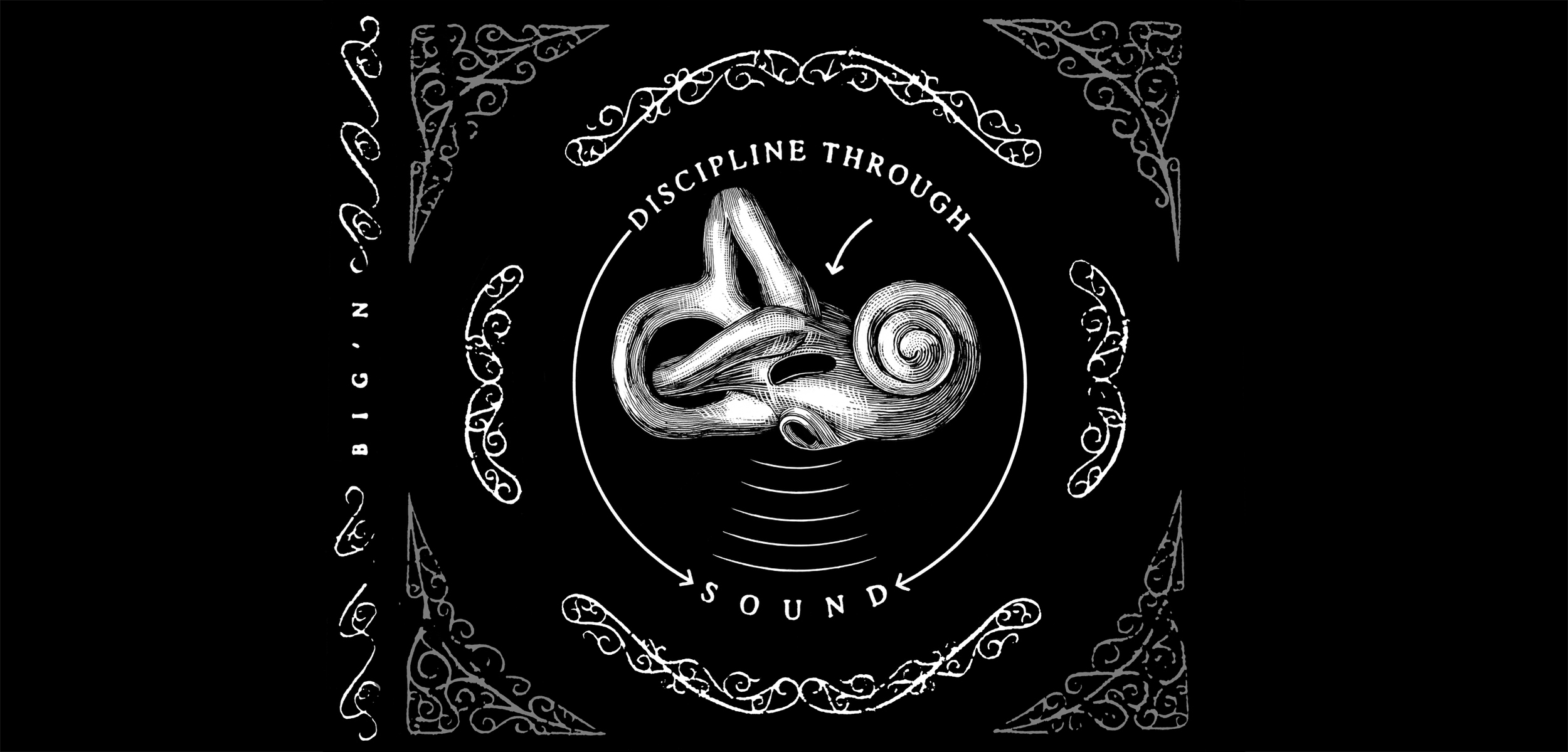 Big'n,  Discipline Through Sound . CD tray, inside.  1996. Pen and ink, Scratch board. Released by Gasoline Boost Records.